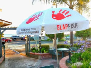 SlapFish printed patio umbrellas